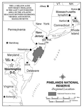 Map of New Jersey showing the Pinelands National Reserve.